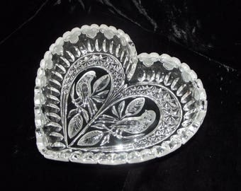 Heart shaped crystal dish with birds, item # 40