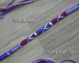 Pretty hair wrap, Wildflower hair braid, lilac purple-cerise baby pink-pastel yellow-sparkly silver-sparkly purple-pony beads-hair extension