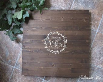 Wreath Wedding Guest Book Alternative Wood Sign - Last Name - Guest Book Sign in  - Choose Your Colors - MADE TO ORDER