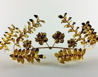 Romantic 1930s - 1940s Myrtle Flower Wreath - Gold Plated Antique Wedding Half Crown - Vintage Golden German Bridal Tiara