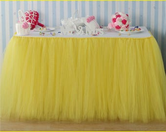Tulle Tutu Table Skirt Custom Beauty and Beast inspired Wonderland Tulle Table Skirting Wedding Birthday Baby Shower Party Decoration