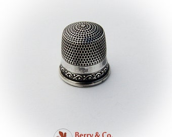 Vintage Sterling Silver Thimble Minor Scroll Pattern