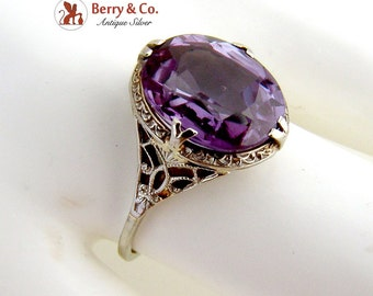 Edwardian Color Change Sapphire Ring 18 K White Gold Openwork Designs