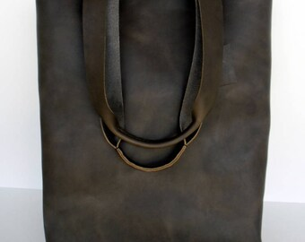 Brown Leather Tote Bag ,  Simple Brown Leather Tote , Brown Leather Tote,  RWOODB Leather Tote,simple brown leather tote