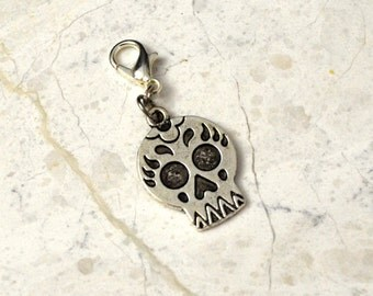 Skull Charm Dia de los Muertos Gothic Accessories, Planner Charm for Travelers Notebook Fauxdori and Midori