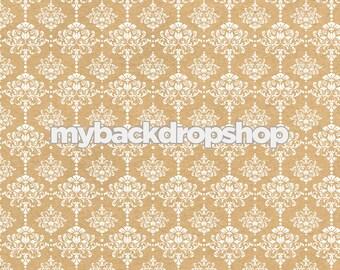 4ft x 4ft Beige Damask Wallpaper Photo Prop - Tan Damask Patterned Photography Backdrop - Neutral Wedding Photography Prop - Item 3218
