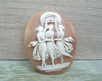 Vintage Shell Cameo Depicting The Three Graces, Unmounted Carved Cameo