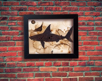 Coffee art, Coffee Stained Art, Shark Silhouette, Sharpie Art, Vintage Paper, Shark Drawing, Coffee Stained paper