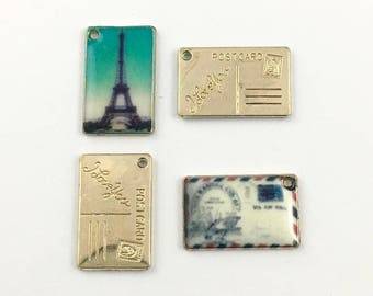 2 postcards charms gold tone and enamel , 18mm  #CH 510