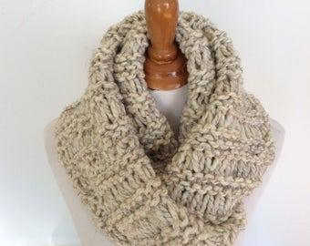 Wheat color Infinity Scarf, Circle Scarf, WoolBlend Infinity Scarf,  Select Color