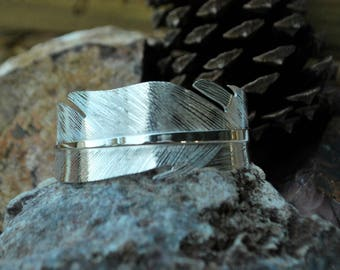 Handmade Sterling Silver Wide Feather Cuff