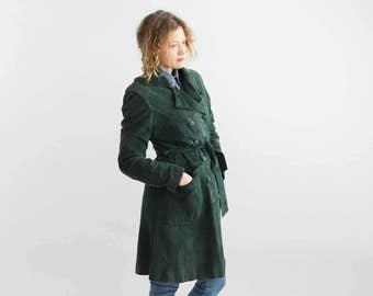 Green Suede Trench Coat, Belted Suede Leather Jacket, Forest Green Suede Double breasted Coat 70's / Size Small to Medium