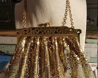 Vintage Whiting and Davis Mesh Goldtone Evening Small Handbag with Chain Handle