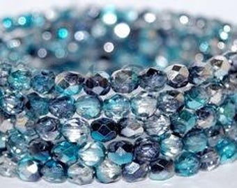 50 Ocean Paradise, 4mm Czech Firepolish glass faceted round (FP-4M-31)
