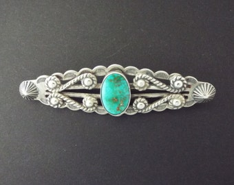 Navajo Sterling Silver Turquoise Pin Brooch - Native American Jewelry