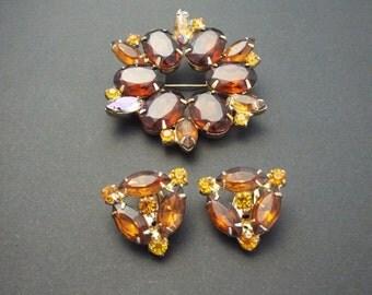 Garne Jewelry| Honey Amber Rhinestone Earrings and Brooch Set | Clip On Garne Earrings| Cluster Brown Brooch