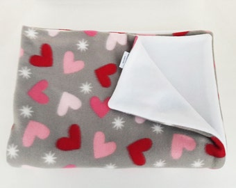 Pink and red heart blanket - throw - revesible