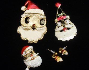 Lot of Santa Claus Christmas Jewelry 3 Pins 1 Pair Earrings