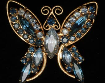 Butterfly Pin Brooch Blue Rhinestones