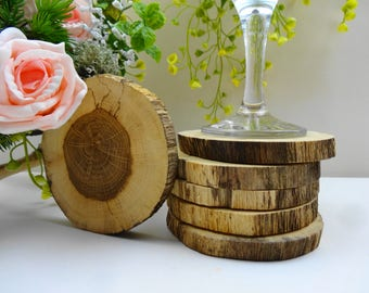 Wood Coasters,Rustic Wood Coaster Set, Wooden Coasters, Oak Wood Coasters, Tea Coasters, Barwear, Drink Coasters, Set of 6 Coasters