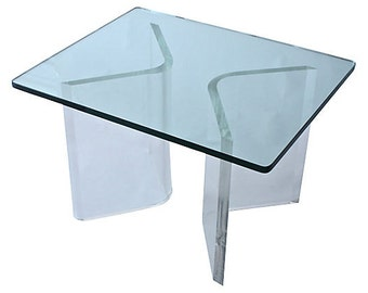 Lucite & Glass-Top Side Table