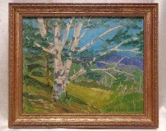 "Newton Brown Estate Vintage ""White Tree"" Landscape Oil Painting on Board >Framed"