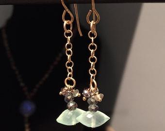 Aqua Chalcedony Rice shaped drop earrings
