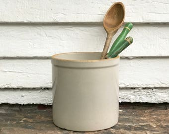 "antique crock ~ perfect for utensils ~ old crock ~ 7"" large kitchen crock ~ pickle crock ~ utensil crock ~ farmhouse antique"