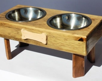 DOG FOOD BOWLS small elevated wood