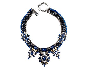 Blue Necklace With Black Accents