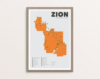 Zion National Park Map, Zion, Outdoors print, Explorer Wall Print