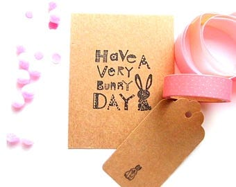 Easter card & tag set, easter bunny card and gift tag