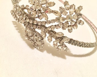 Sparkling 1920s glamour. Bespoke tiara/headband designed and created with vintage jewellery