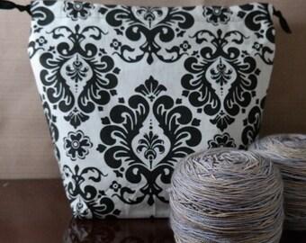 Damask Medium Drawstring Project bag