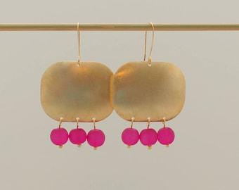 Chandelier Earrings - Pink Earrings - Pink and Gold Earrings - Beaded Earrings - Boho Earrings - Statement Earrings, Sea Glass Earrings