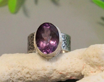 Brazilian amethyst ring  ,Sterling silver, amethyst silver, amethyst sterling, solitaire ring, boho ring, texture ring, big ring