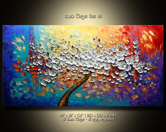 Made-to-Order ORIGINAL ABSTRACT Tree Painting Modern Textured Palette Knife by Lana Guise