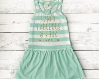 Birthday Dress 4 Year Old Summer Clothes 4th Birthday Dress Fancy Fabulous and Four Girl Fourth Birthday Summer Dress 246