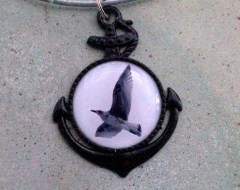 Seagull black & white - necklace with anchor
