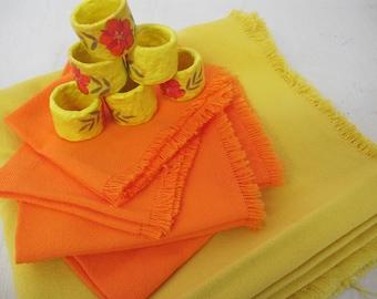 Mexican Woven Tablecloth Cotton Set Napkin Rings Mod tablecloth