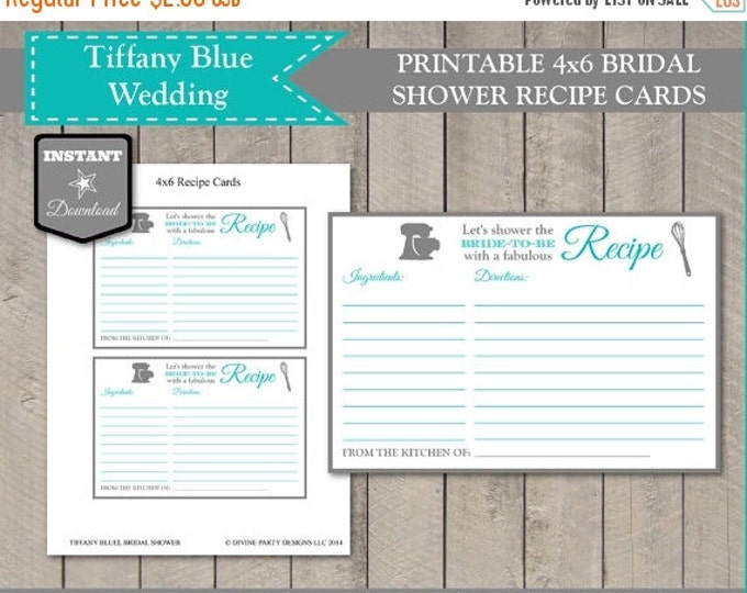 SALE INSTANT DOWNLOAD Bridal Shower 4x6 Recipe Card / Blue and Grey / Printable Diy / Flowers / Wedding Collection / Item #202