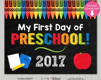 First Day of Preschool Sign - Boy 1st Day of School Chalkboard Sign - PreK Photo Prop - Instant Download - Printable Digital File