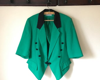 SPRING SALE // Vintage Bright Green Colorblock Jacket / Circus Jacket