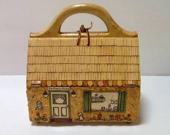 Vintage Wood Cottage Box Purse / Decoupage Purse / Med SZ / Abstract / Top Handle / High Fashion / Avant Garde / Preppy