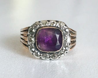Georgian Amethyst and Diamond Ring