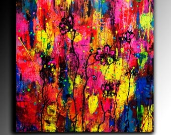 Art Acrylic Painting Flower UV Glow in the dark Fluorescent Abstract Contemporary Wall Art Painting on canvas textured painting large square