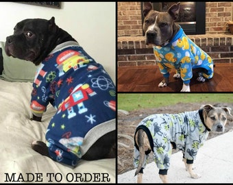 CUSTOM LARGE DOG pajamas / pjs / onesie / longjohns / pitbull / tooth and honey / fleece pjs