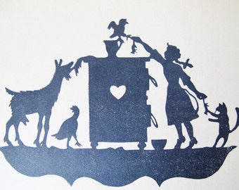 German CHILDREN BOOK, Art Deco, Silhouettes, Scissor Cuts, 7 Fairy Tales, Kasperle, Holzleitner, 1930s