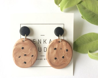 Paloma Earrings Black Copper Polymer Clay Geometric Mid Century