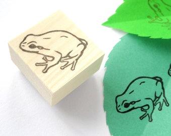Handmade frog rubber stamp, Kawaii amphibian animal, Japanese stationery